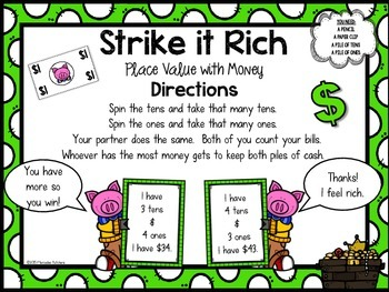 Place Value Game with Dollar Bills