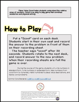 Place Value Games | Place Value Worksheets | Scoot for 3rd, 4th, 5th