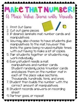 Place Value Games and Activities