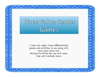 Place Value Games and Center Activities
