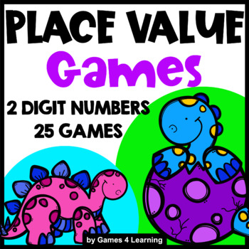 Place Value Games for 2 Digit Numbers: Place Value Tens and Ones: Dinosaur Math