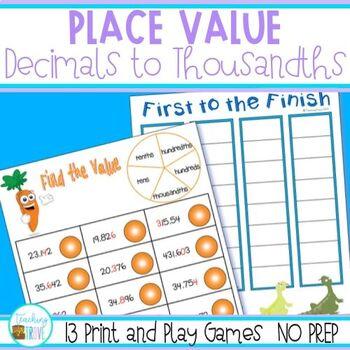 Decimals Place Value Games -  NO PREP Games and Interactive Worksheets