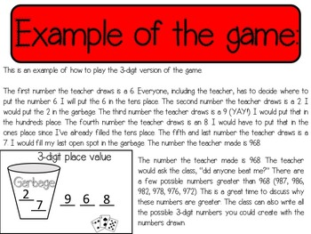 Place Value Garbage Game