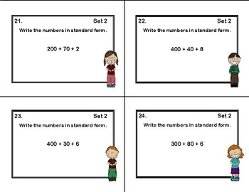 Place Value- Grade 2- Write the Number-48 Task Cards