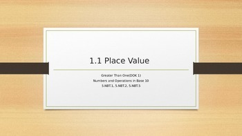 Place Value: Greater than One