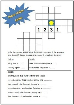 Place Value and Number Word Grid Puzzles