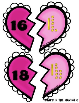 Valentine's Day Place Value Heart Matching Game (#1-100) 20 sets