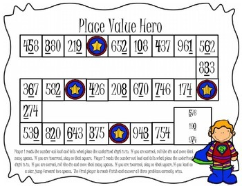 Place Value Hero Board Game