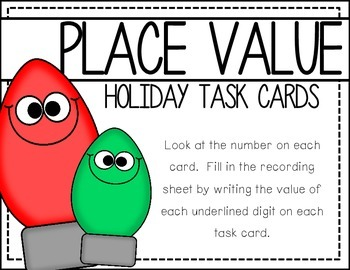 Place Value:  Holiday Task Cards