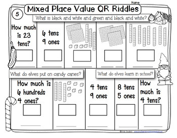 Holiday Themed -Place Value- -QR code Fun Riddles and More