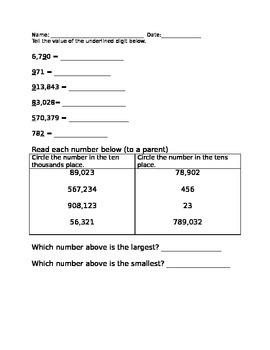 Place Value Homework