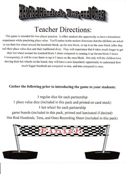 Place Value - Hot Rod Hundreds, Tens, and Ones Game