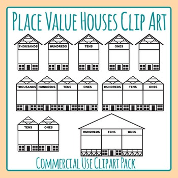 Place Value Houses Clip Art Pack for Commercial Use