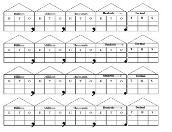 Place Value Roll Activity Dice Net and Worksheet / Activity