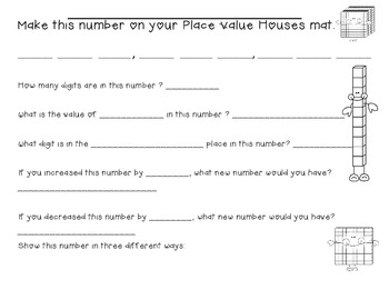 Place Value Houses Math Mat & Number Cards
