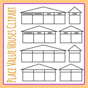 Place Value Houses Simple Clip Art Pack for Commercial Use