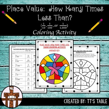 Place Value: How Many Times Less Than? Coloring Activity