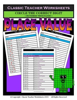 Place Value-Hundred Thousands to Ones-Circle Correct Digit-Gr. 5-6 (5th-6th Gr.)