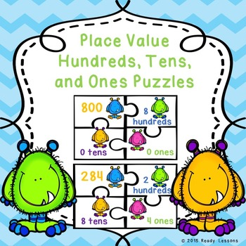 2nd Grade Place Value Hundreds Tens and Ones Game Puzzles 2.NBT.1