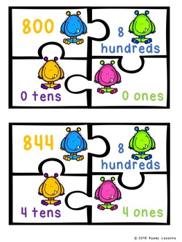 3 Digit Place Value Hundreds Tens Ones Place Value Game 2nd Grade 2.NBT.1 Puzzle