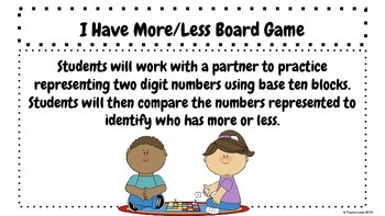 Place Value - I Have More/Less Board Game