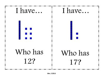 Tens and Ones: I Have, Who Has
