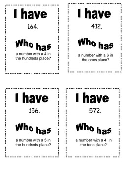 """Place Value """"I Have, Who Has"""" 16 Cards- NOT COLORED"""