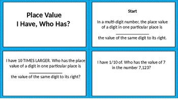 Place Value I Have, Who Has