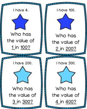 Place Value I Have, Who Has Game