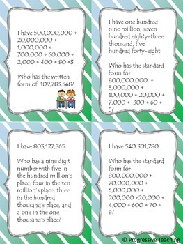 Place Value I Have, Who Has - Hundred Million's Place