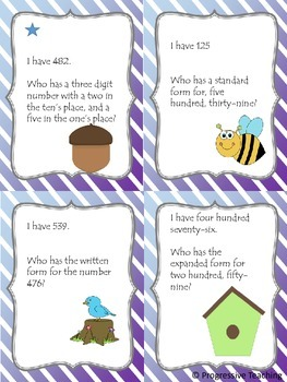 Place Value - I Have, Who Has - Hundred's Place