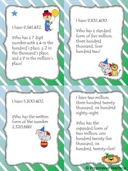 Place Value - I Have, Who Has - Million's Place