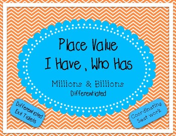 Place Value I Have Who Has - Millions and Billions