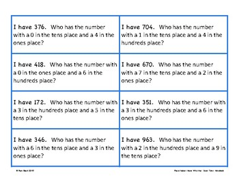 Place Value Game - I Have Who Has - Ones, Tens, Hundreds {Differentiated}