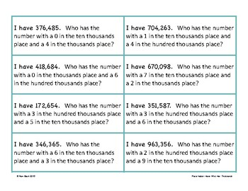 Place Value Game - I Have Who Has - Thousands Period