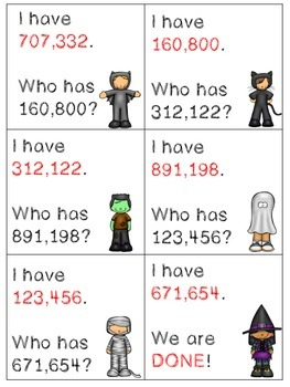 Place Value I Have, Who Has to Hundred-Thousands
