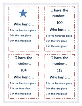 Place Value- I Have..Who Has...Numbers from 0-120