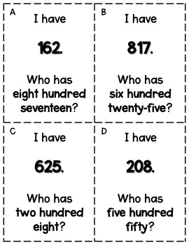 Place Value I have, Who has?
