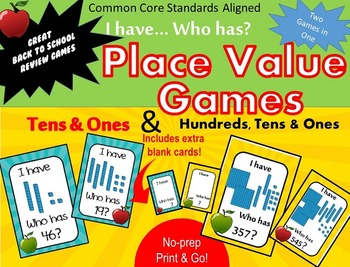Place Value - I have Who has - Matching Standard numbers to Base ten cubes