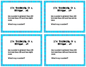 Place Value: I'm Thinking of a Number set 5
