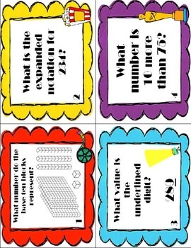 """Place Value """"In the Spotlight"""" Task Cards, Scoot, and Bonus QR Codes"""