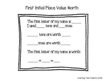 Place Value Initials K-2 (Differentiated Craftivity)