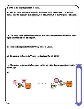 Place Value Inquiry Question and Worksheet