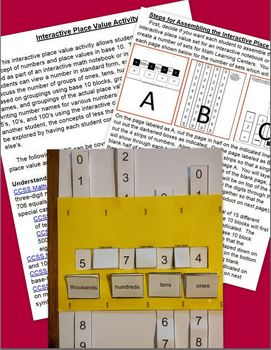 Interactive Notebook Place Value Activity Set with Task Cards