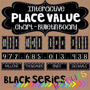 Place Value Interactive Board ~ Black Series ~ Bright Neon Colors