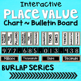 Place Value Posters Chart ~ Interactive Wall Display Board ~ Burlap ~ Farmhouse