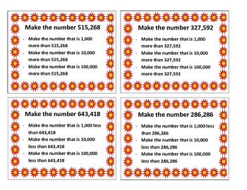Place Value Interactive/Hands-On Task Cards (Making Numbers More or Less)
