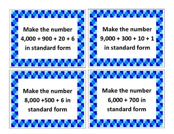 Place Value Interactive/Hands-On Task Cards (Standard Form Numbers)