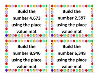 Place Value Interactive/Hands-On Task Cards (Building Numbers)