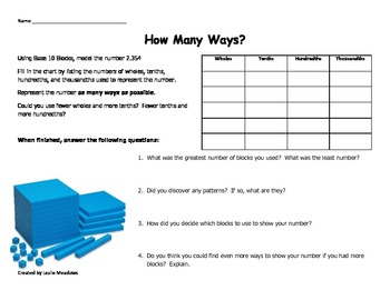 Place Value Investigation- How Many Ways?